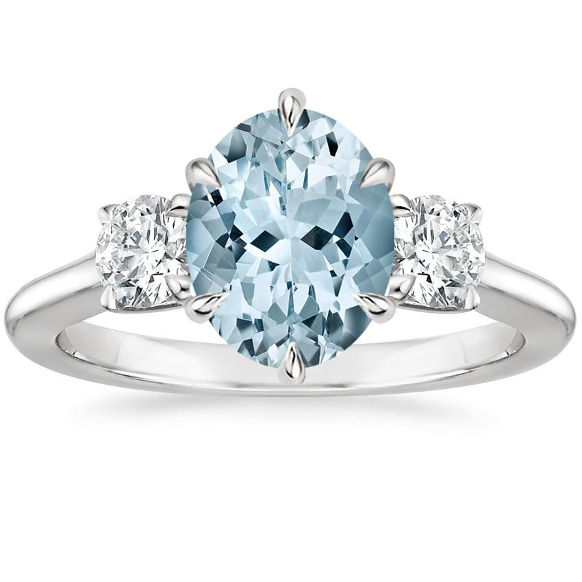 Aquamarine Three Stone Catalina Diamond Ring (1/2 ct. tw.) in Platinum
