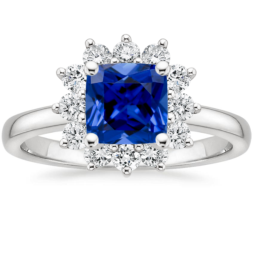 Sapphire Sunburst Diamond Ring (1/4 ct. tw.) in Platinum