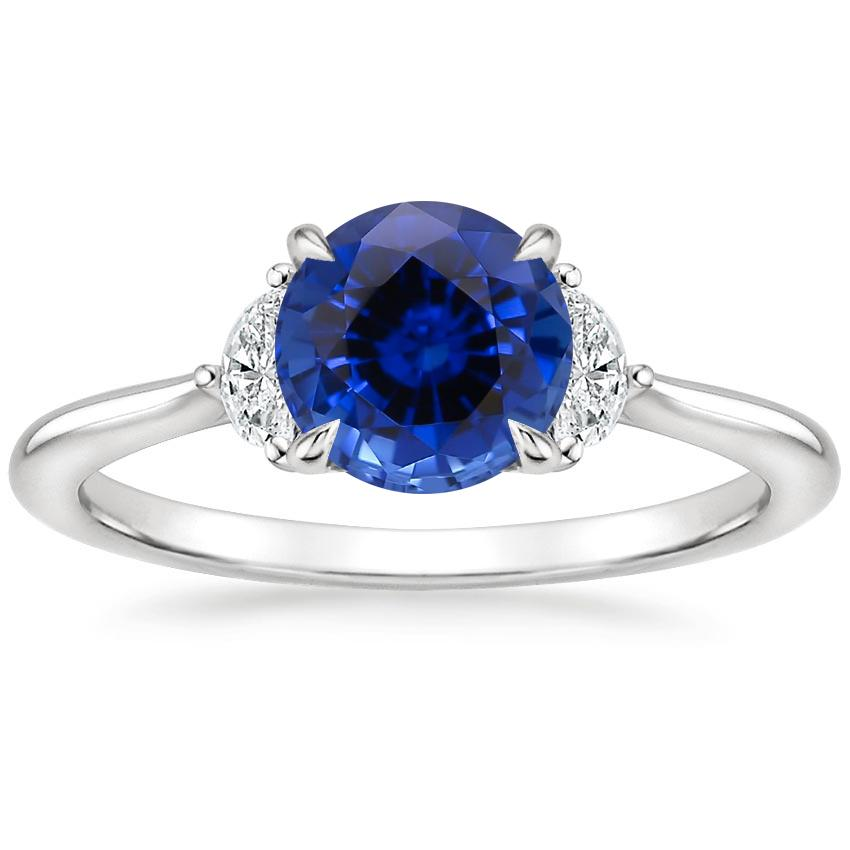 Sapphire Half Moon Diamond Ring in Platinum