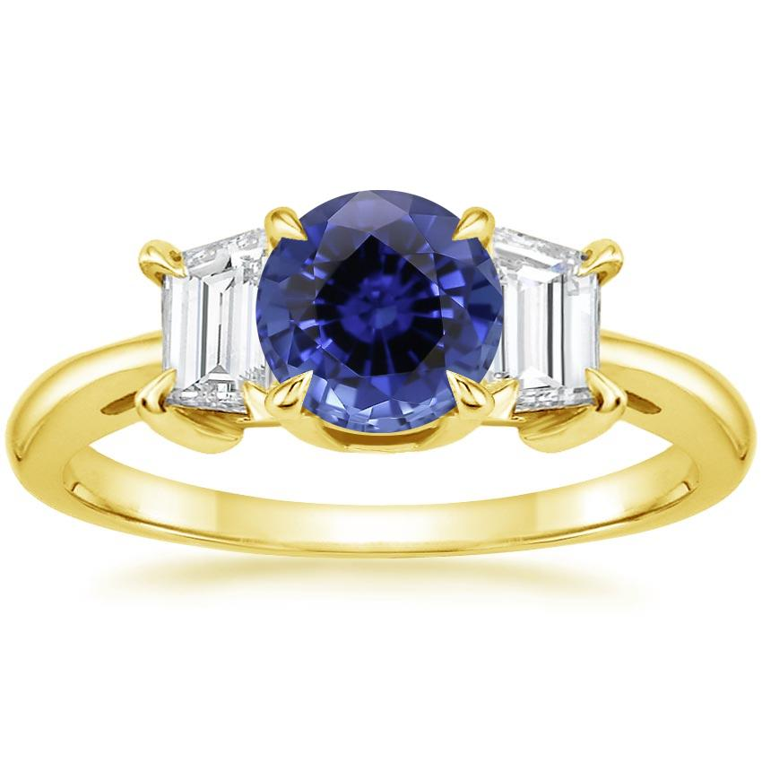 Yellow Gold Sapphire Embrace Diamond Ring