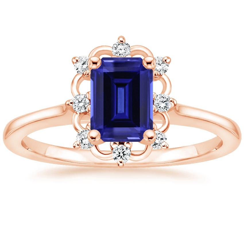 Rose Gold Sapphire Chantilly Diamond Ring