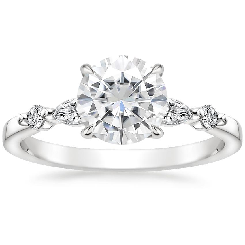 Moissanite Petite Versailles Diamond Ring (1/5 ct. tw.) in 18K White Gold