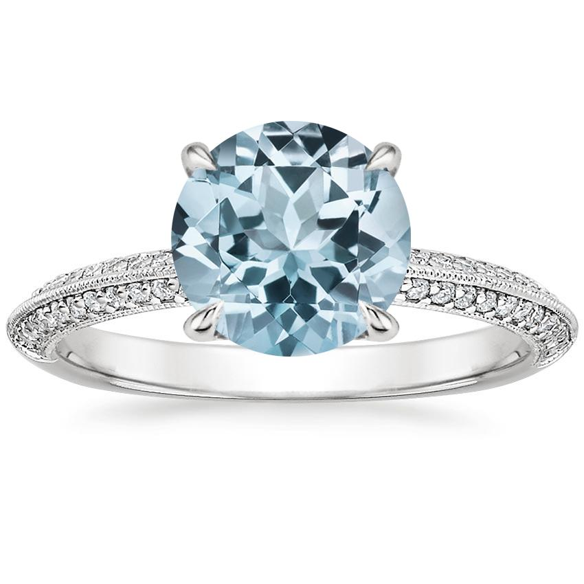 Aquamarine Callista Diamond Ring in 18K White Gold