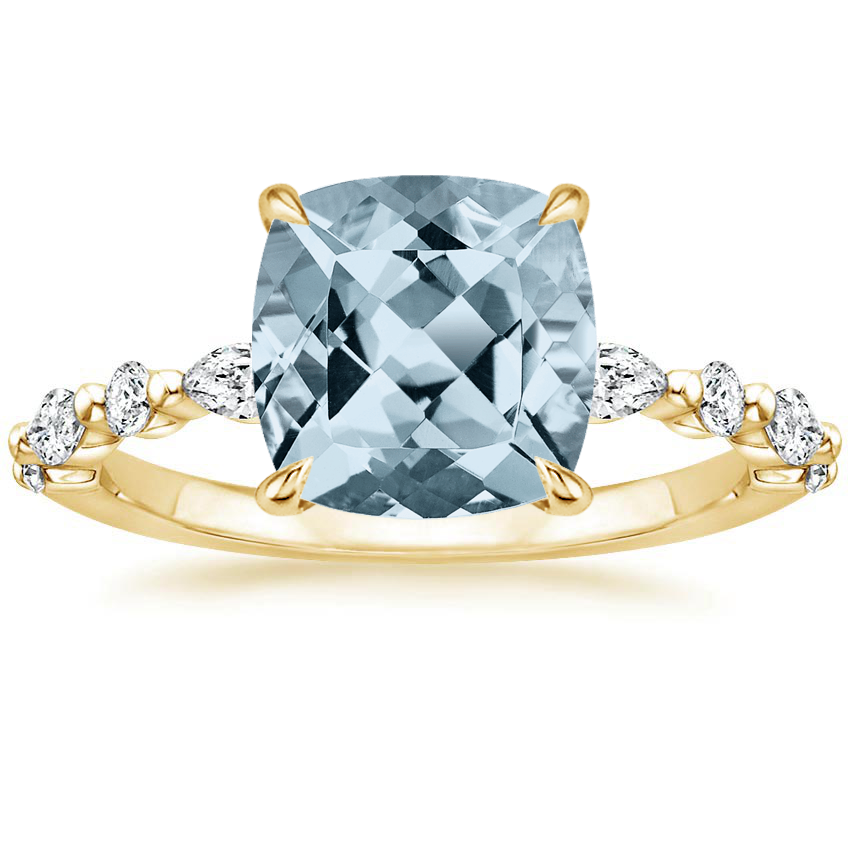 Yellow Gold Aquamarine Versailles Diamond Ring (1/3 ct. tw.)