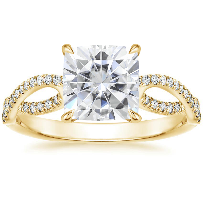 Yellow Gold Moissanite Cascade Diamond Ring