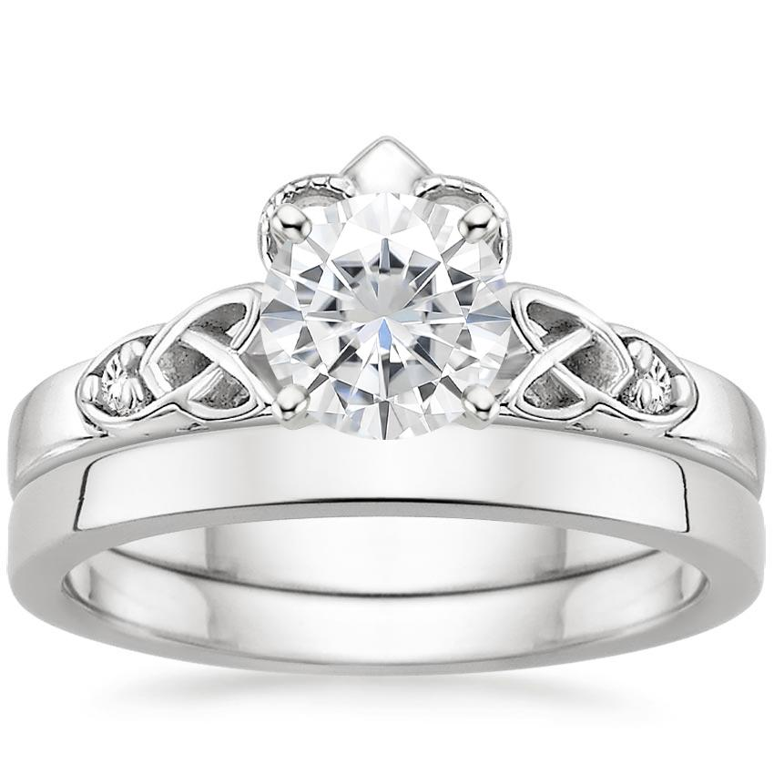 18KW Moissanite Celtic Claddagh Diamond Bridal Set, top view