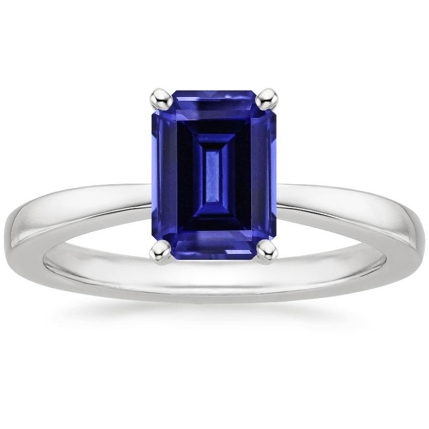 Lab Created Sapphire Petite Taper Ring in Platinum