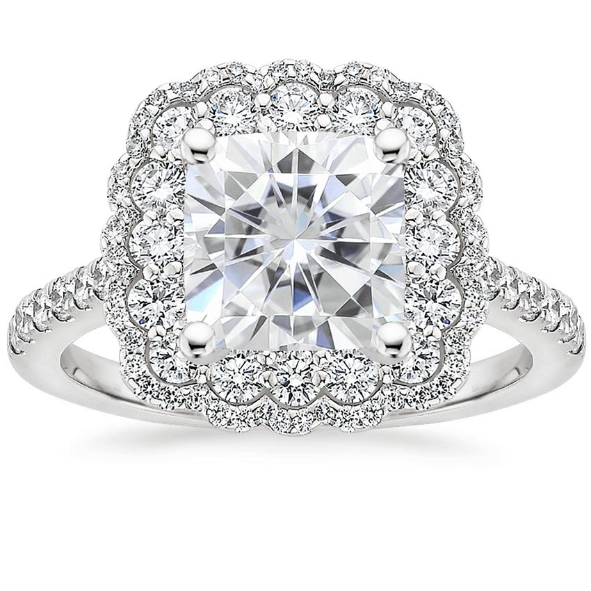 Moissanite Rosa Diamond Ring in 18K White Gold