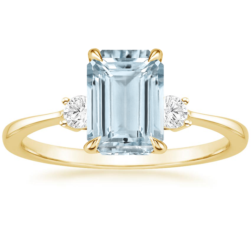 Yellow Gold Aquamarine Selene Diamond Ring (1/10 ct. tw.)