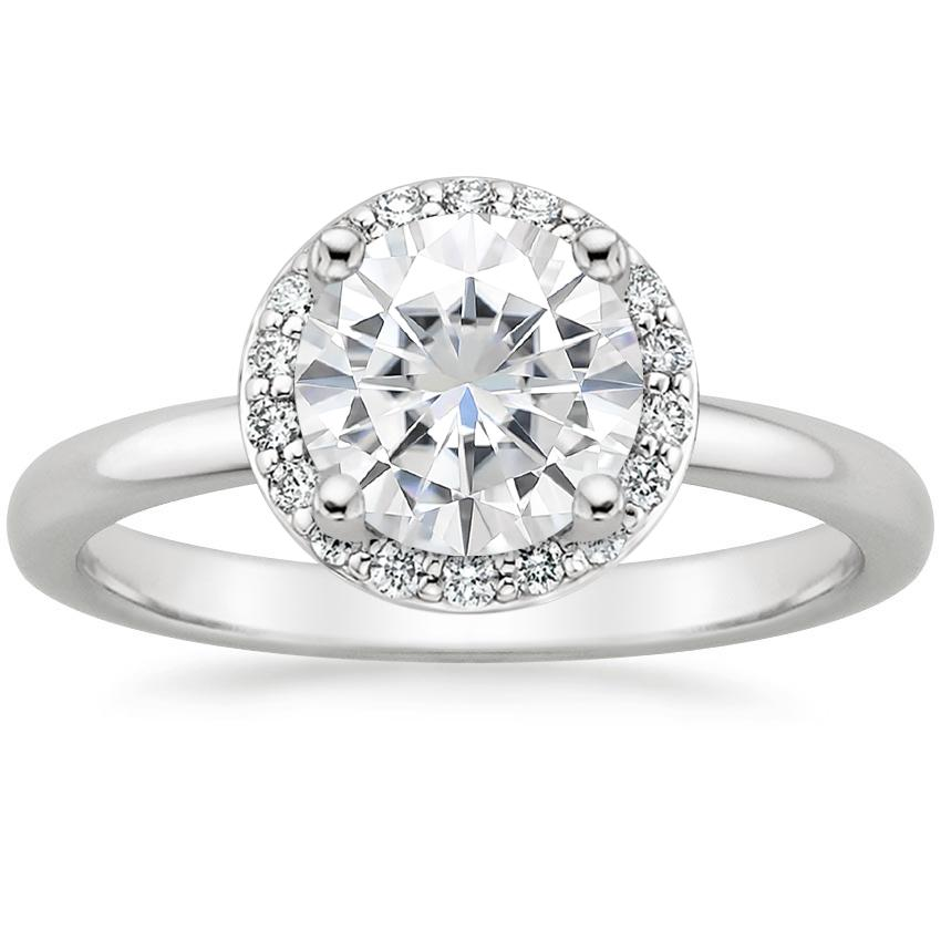 Moissanite Halo Diamond Ring (1/6 ct. tw.) in 18K White Gold