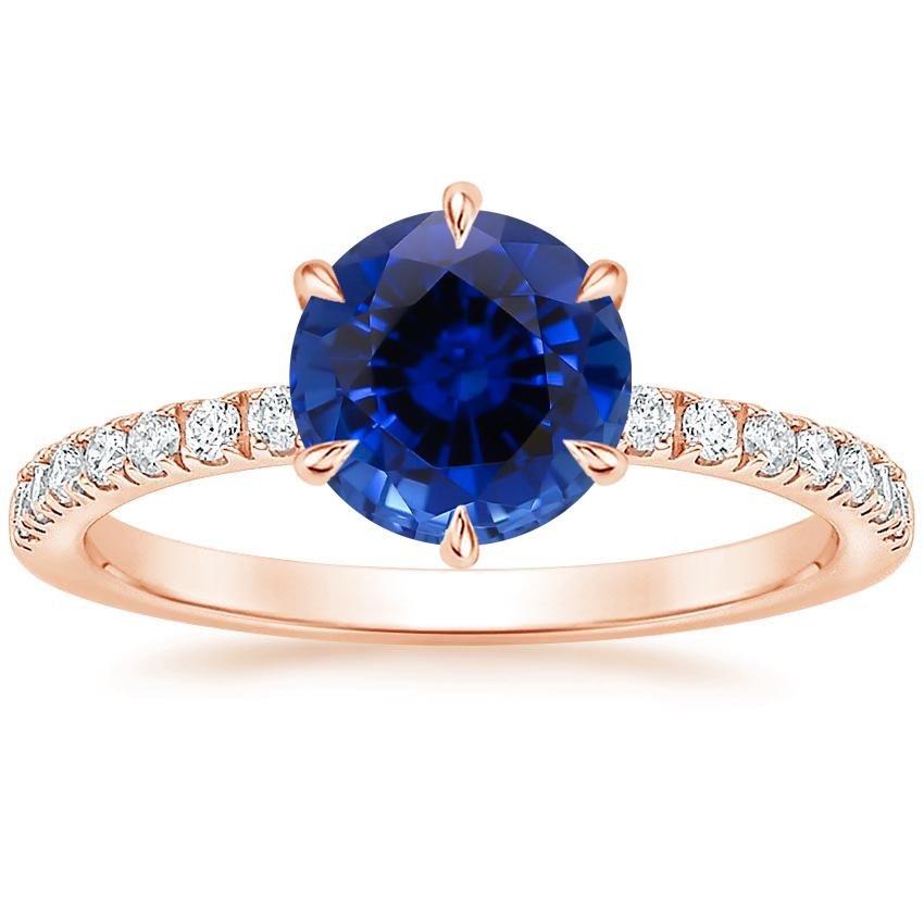Rose Gold Sapphire Poppy Diamond Ring (1/6 ct. tw.)