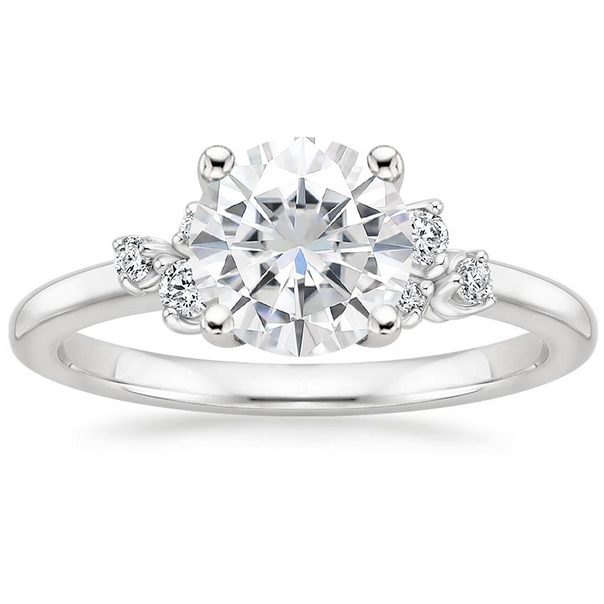 Moissanite Mia Diamond Ring in 18K White Gold