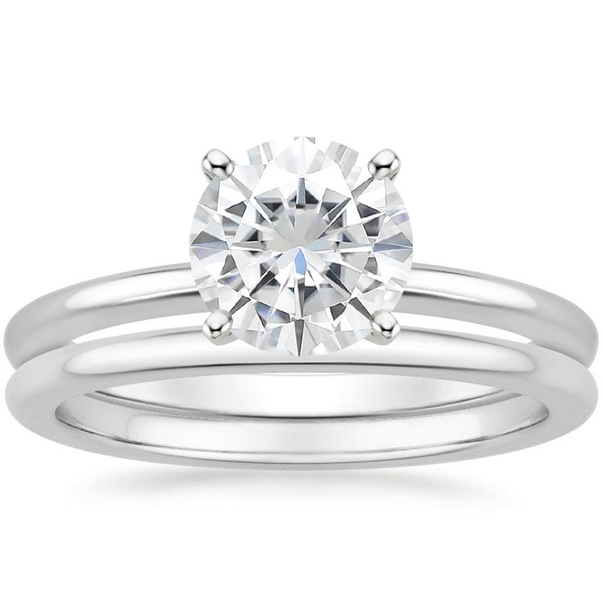 18KW Moissanite Four-Prong Petite Comfort Fit Bridal Set, top view