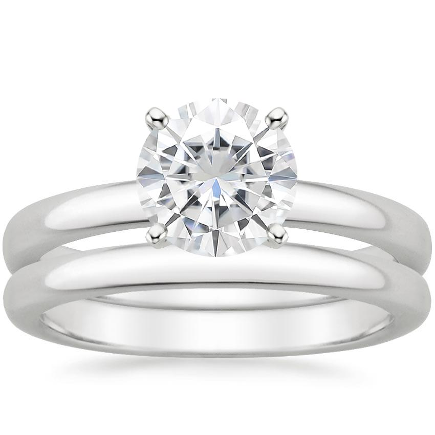 18KW Moissanite 2.5mm Comfort Fit Bridal Set, top view