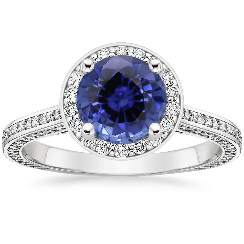 Sapphire Enchant Halo Diamond Ring in 18K White Gold