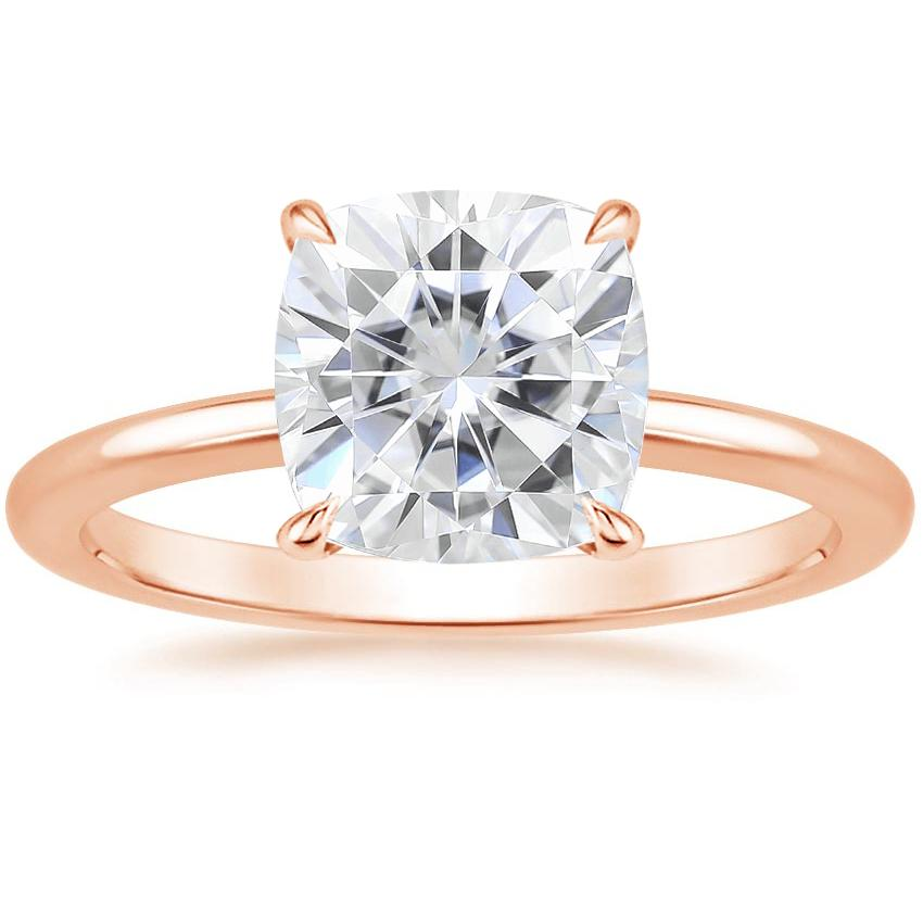 Rose Gold Moissanite Secret Halo Diamond Ring