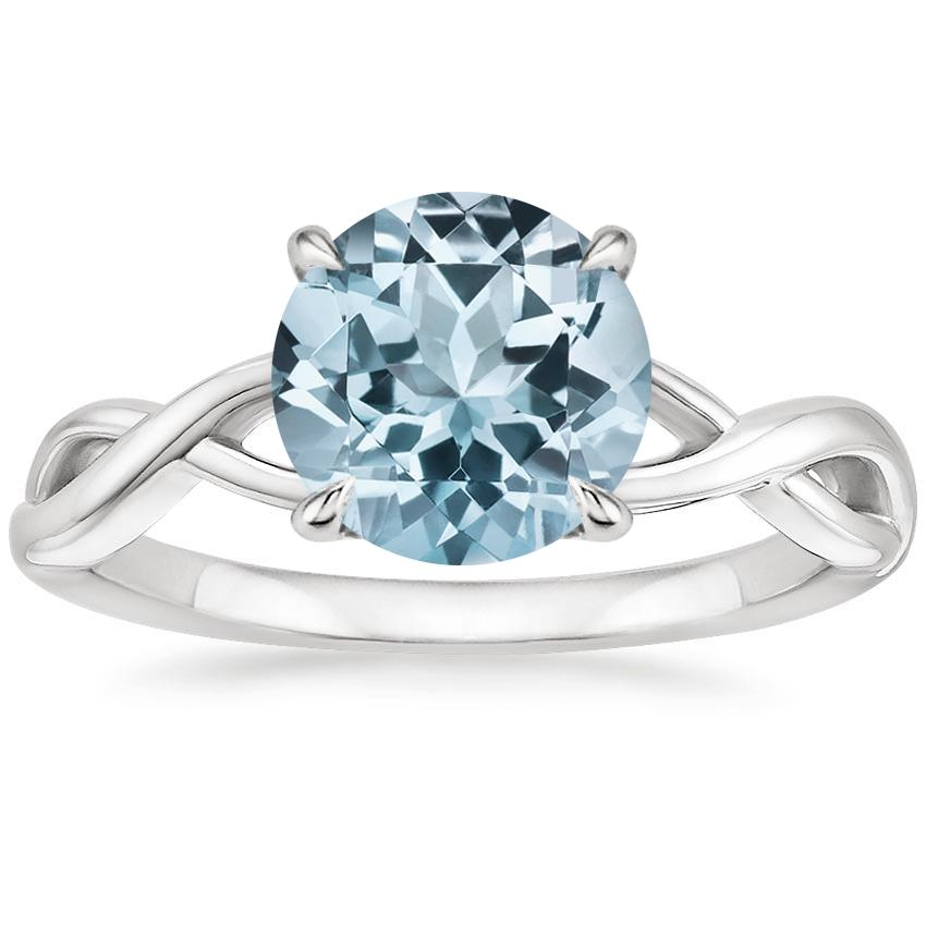 Aquamarine Eden Diamond Ring in 18K White Gold