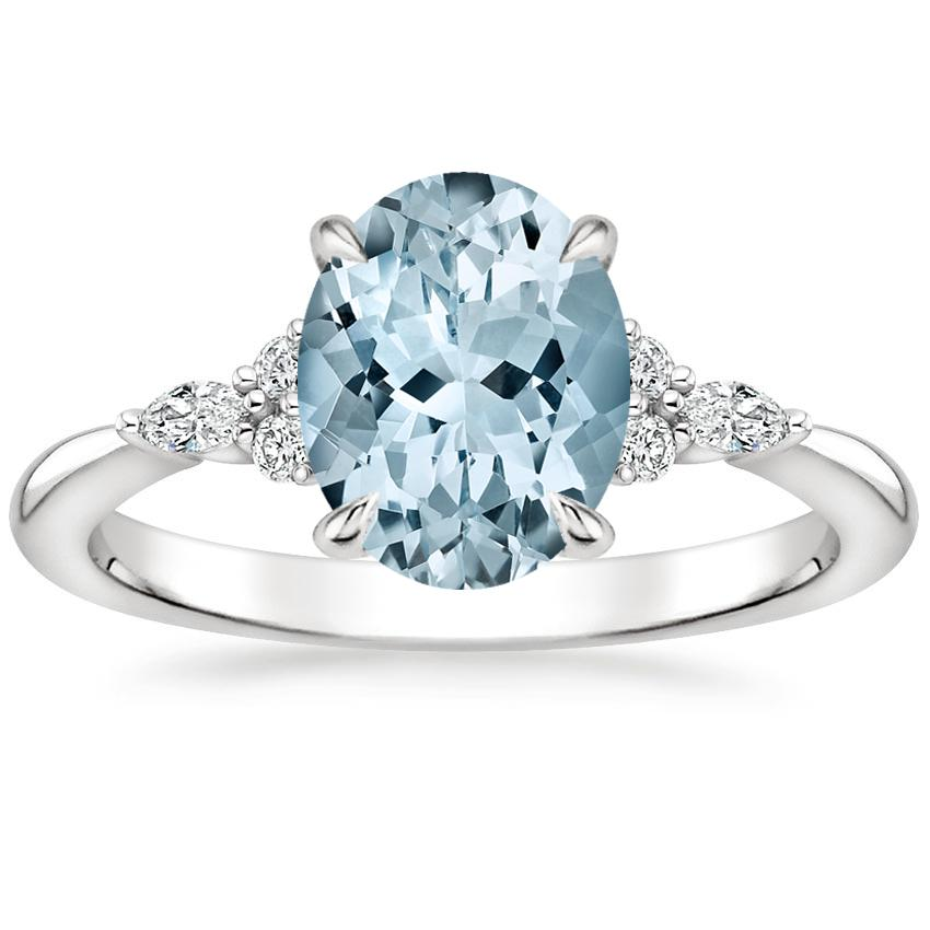 Aquamarine Nadia Diamond Ring in Platinum