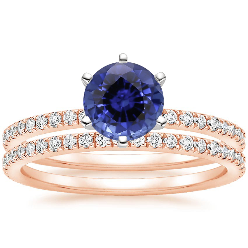 14KR Sapphire Lyric Diamond Ring with Luxe Ballad Diamond Ring (1/4 ct. tw.), top view