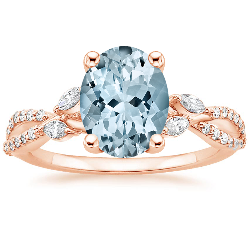 Rose Gold Aquamarine Luxe Willow Diamond Ring (1/4 ct. tw.)