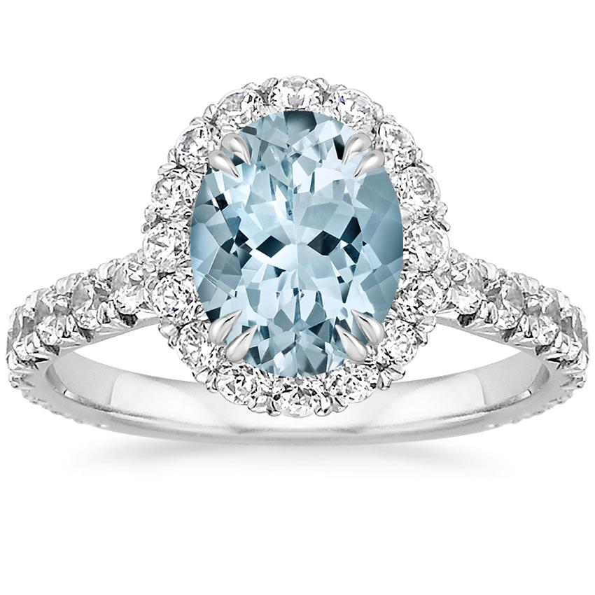Aquamarine Luxe Sienna Halo Diamond Ring (3/4 ct. tw.) in 18K White Gold