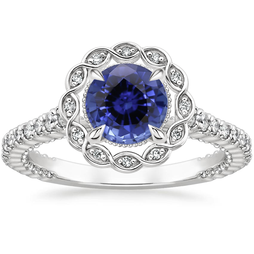 Sapphire Magnolia Diamond Ring (1/3 ct. tw.) in 18K White Gold