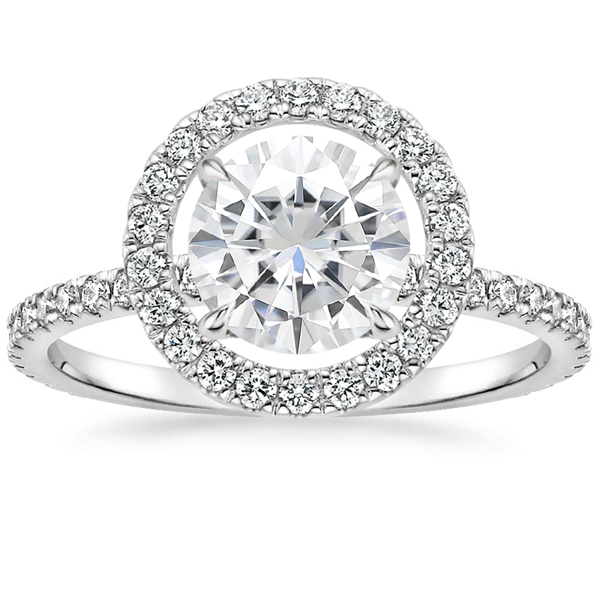 Moissanite Aura Diamond Ring in 18K White Gold