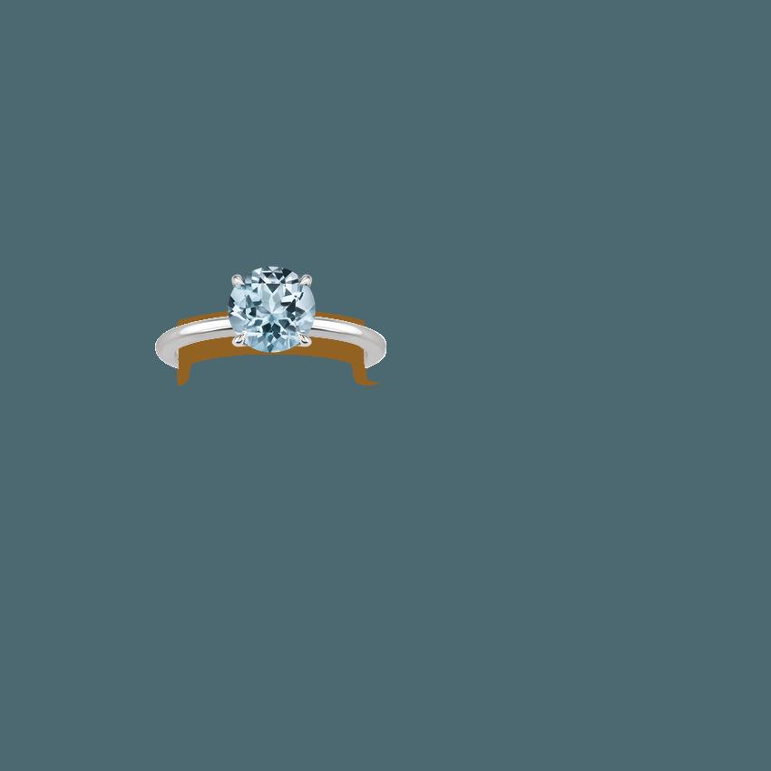 Aquamarine Secret Halo Diamond Ring In 18K White Gold