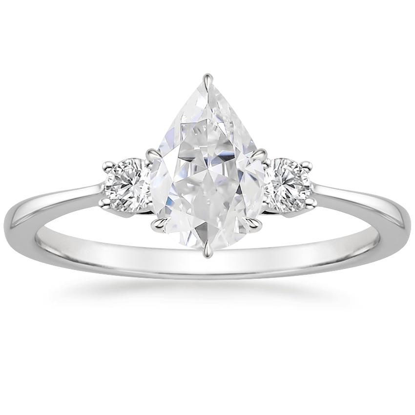 Moissanite Selene Diamond Ring (1/10 ct. tw.) in 18K White Gold