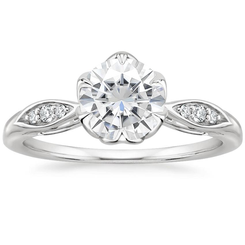Moissanite Peony Diamond Ring in 18K White Gold