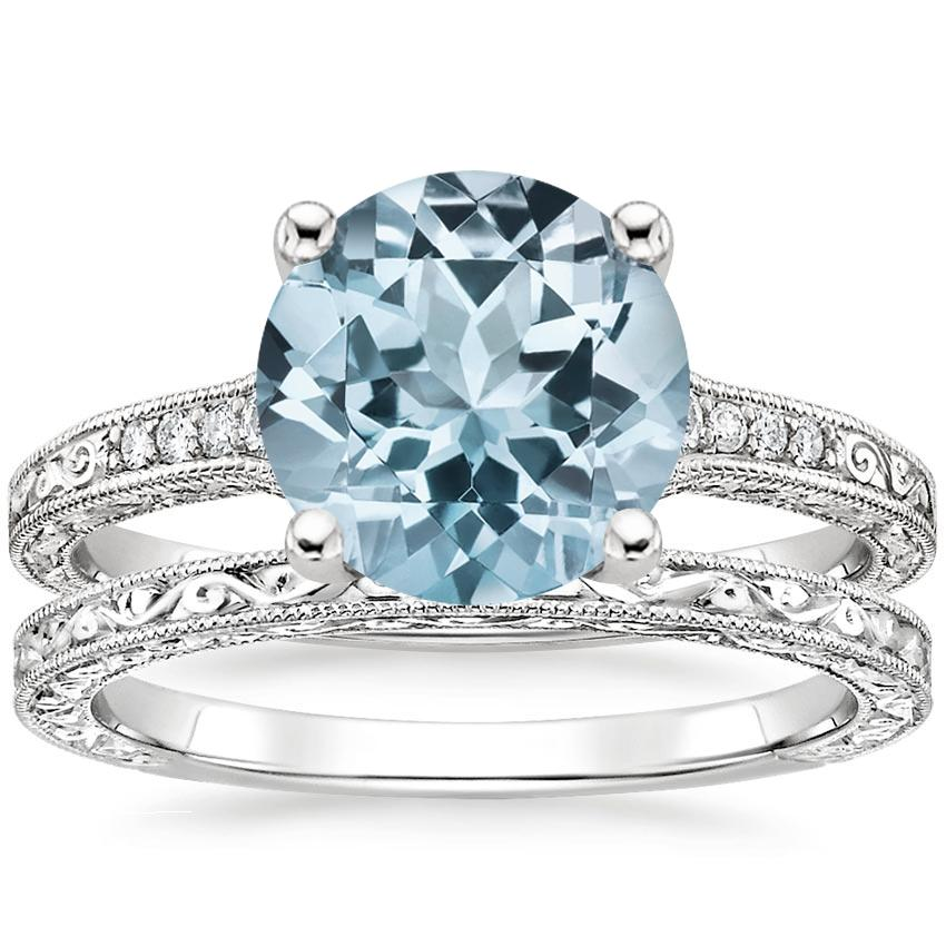 18KW Aquamarine Luxe Hudson Diamond Bridal Set, top view