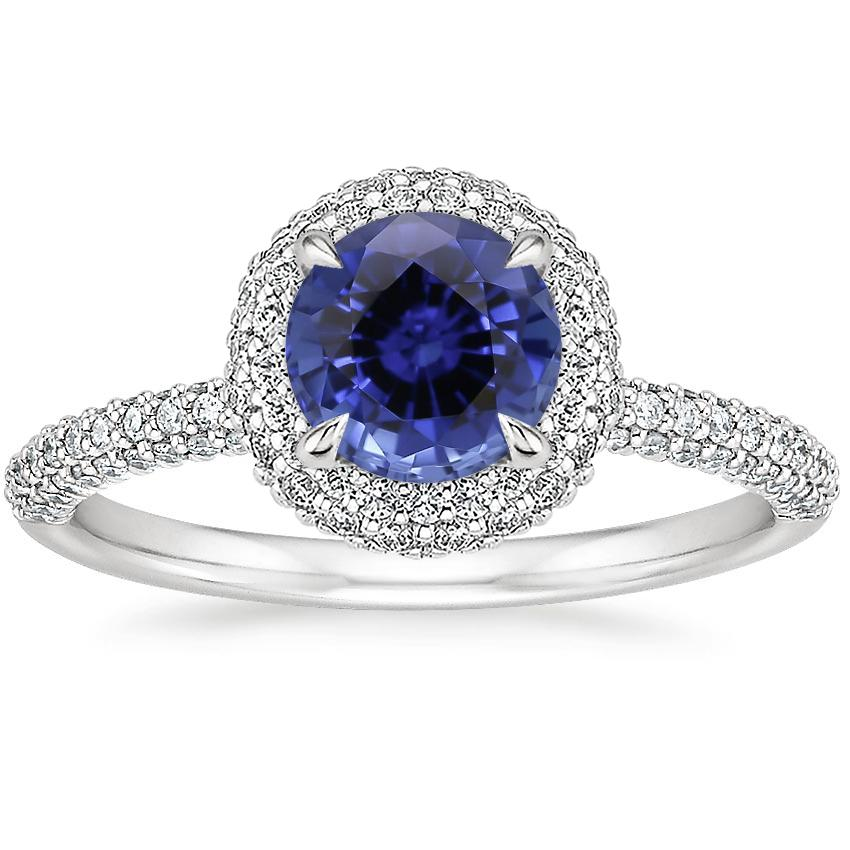 Sapphire Valencia Halo Diamond Ring (1/2 ct. tw.) in 18K White Gold