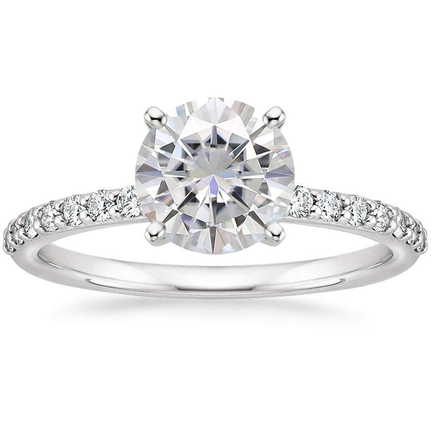 moissanite petite shared prong diamond ring 14 ct tw - Moissanite Wedding Rings
