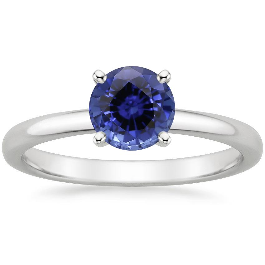 Sapphire 2mm Comfort Fit Ring in 18K White Gold