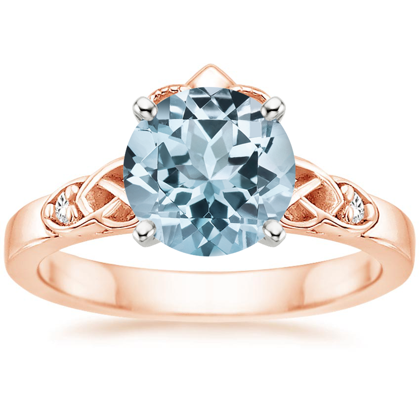 Rose Gold Aquamarine Celtic Claddagh Diamond Ring