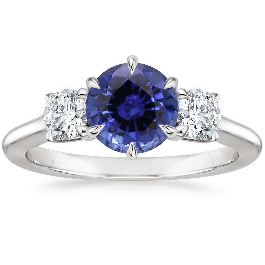 Sapphire Three Stone Catalina Diamond Ring (1/2 ct. tw.) in 18K White Gold
