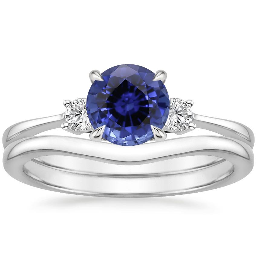 18KW Sapphire Selene Diamond Ring with Petite Curved Wedding Ring, top view