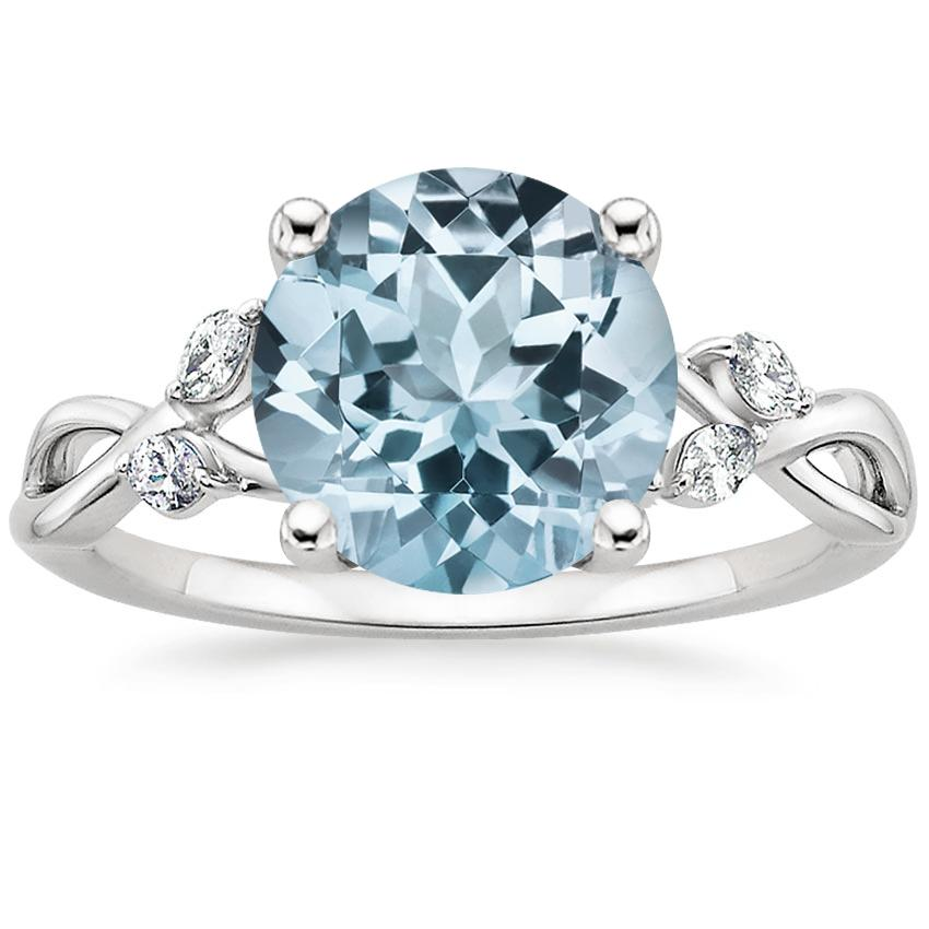 Aquamarine Willow Diamond Ring (1/8 ct. tw.) in 18K White Gold