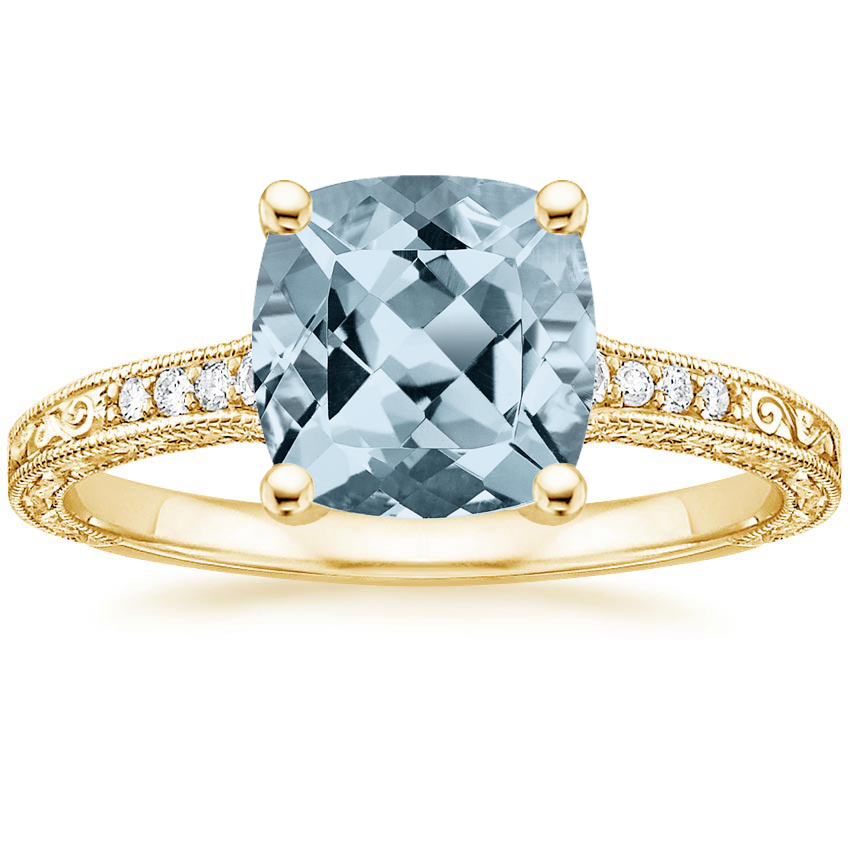 Yellow Gold Aquamarine Luxe Hudson Diamond Ring (1/10 ct. tw.)