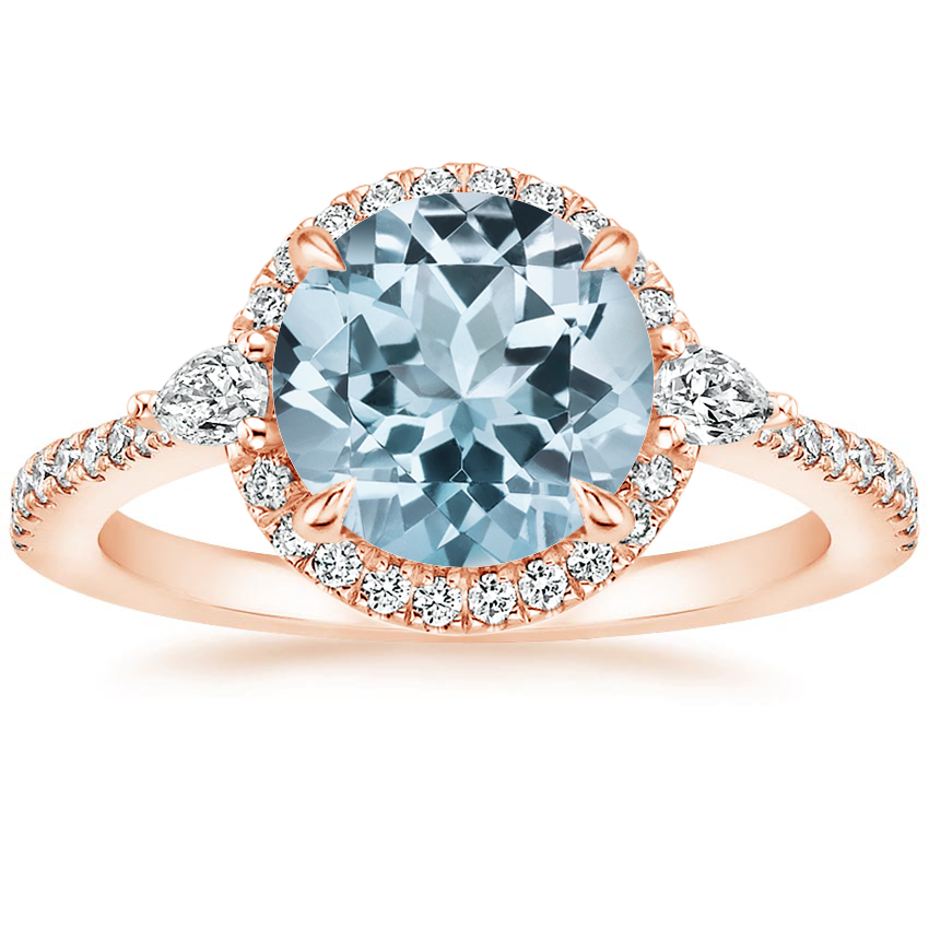 Rose Gold Aquamarine Luxe Aria Halo Diamond Ring (1/4 ct. tw.)