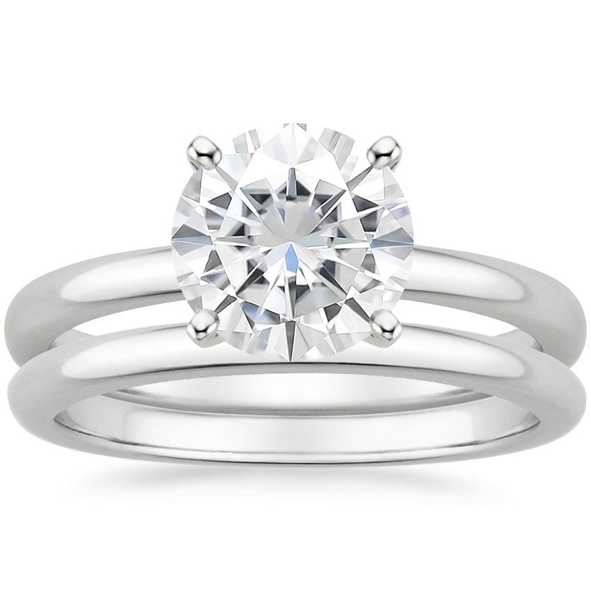 18KW Moissanite 2mm Comfort Fit Bridal Set, top view