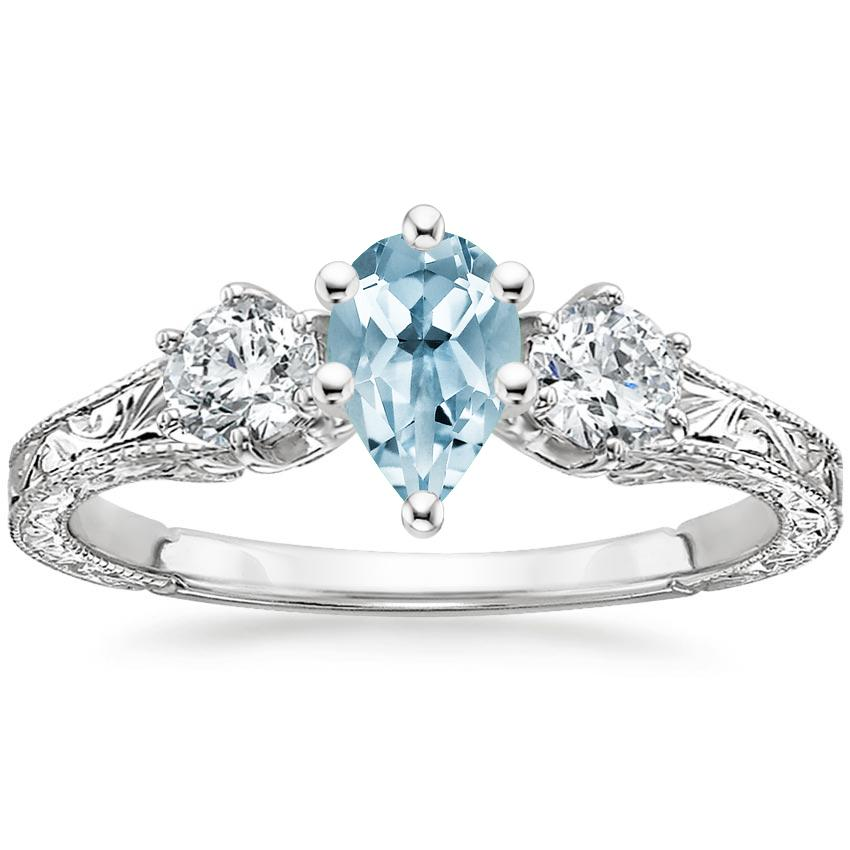 Aquamarine Three Stone Hudson Diamond Ring (1/3 ct. tw.) in 18K White Gold