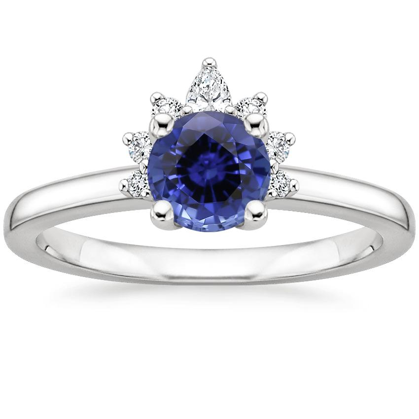 Sapphire Crescent Diamond Ring in Platinum