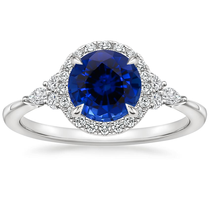 Sapphire Nadia Halo Diamond Ring (1/4 ct. tw.) in 18K White Gold