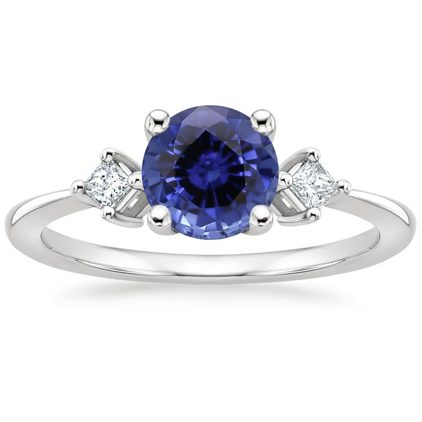 Sapphire Tria Diamond Ring in 18K White Gold