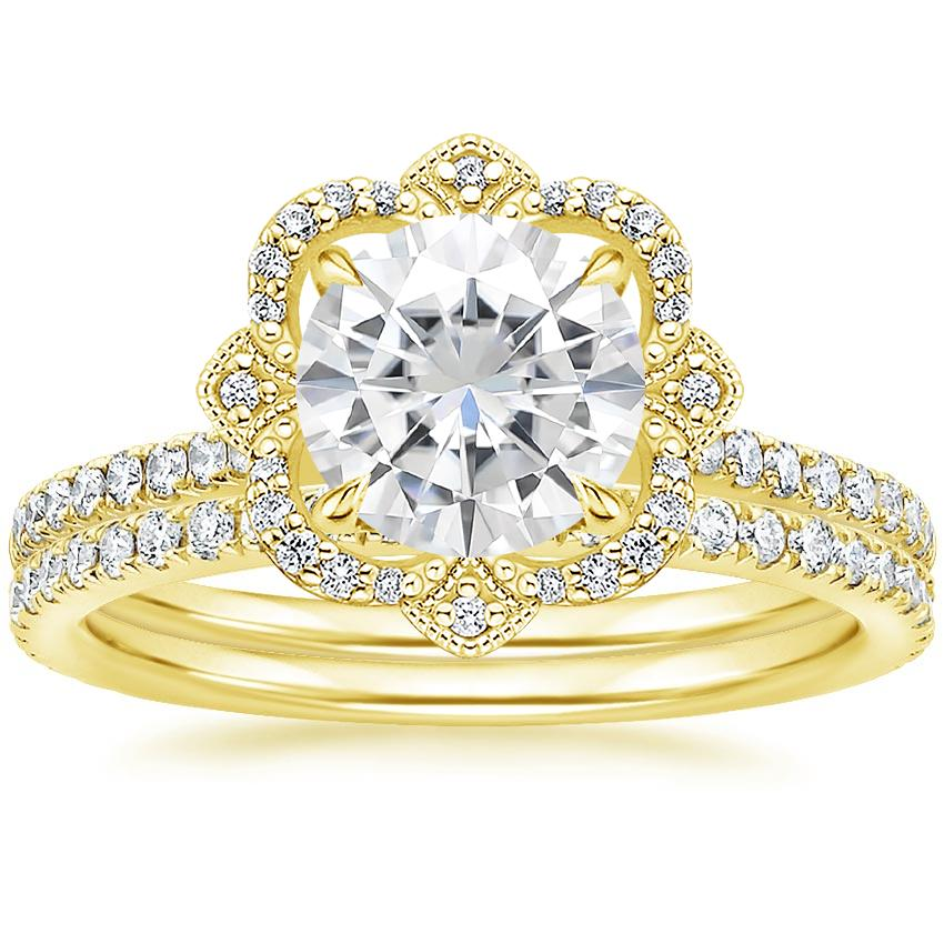 18KY Moissanite Reina Diamond Ring (1/6 ct. tw.) with Luxe Ballad Diamond Ring (1/4 ct. tw.), top view