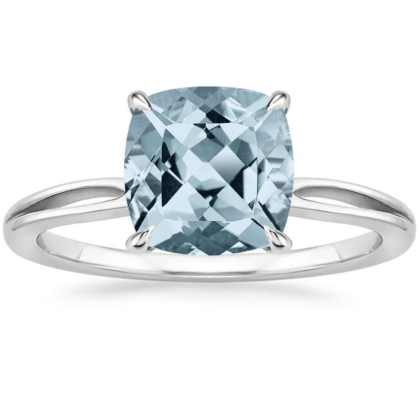 Aquamarine Kalina Ring in 18K White Gold