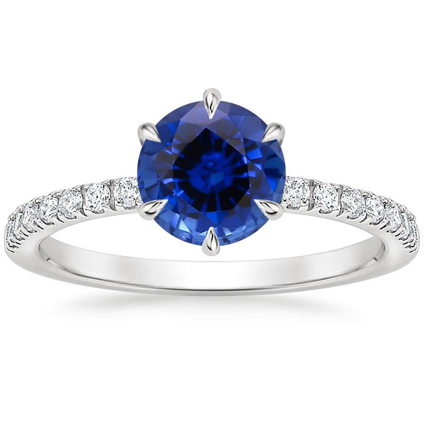 Sapphire Poppy Diamond Ring in 18K White Gold