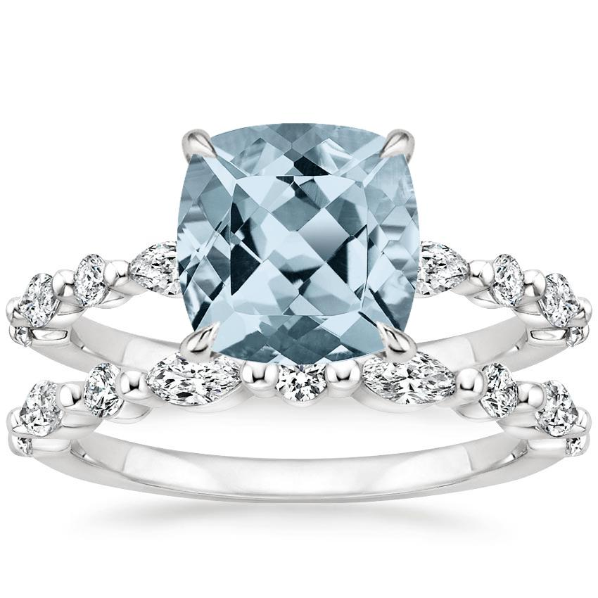 18KW Aquamarine Versailles Diamond Bridal Set (3/4 ct. tw.), top view