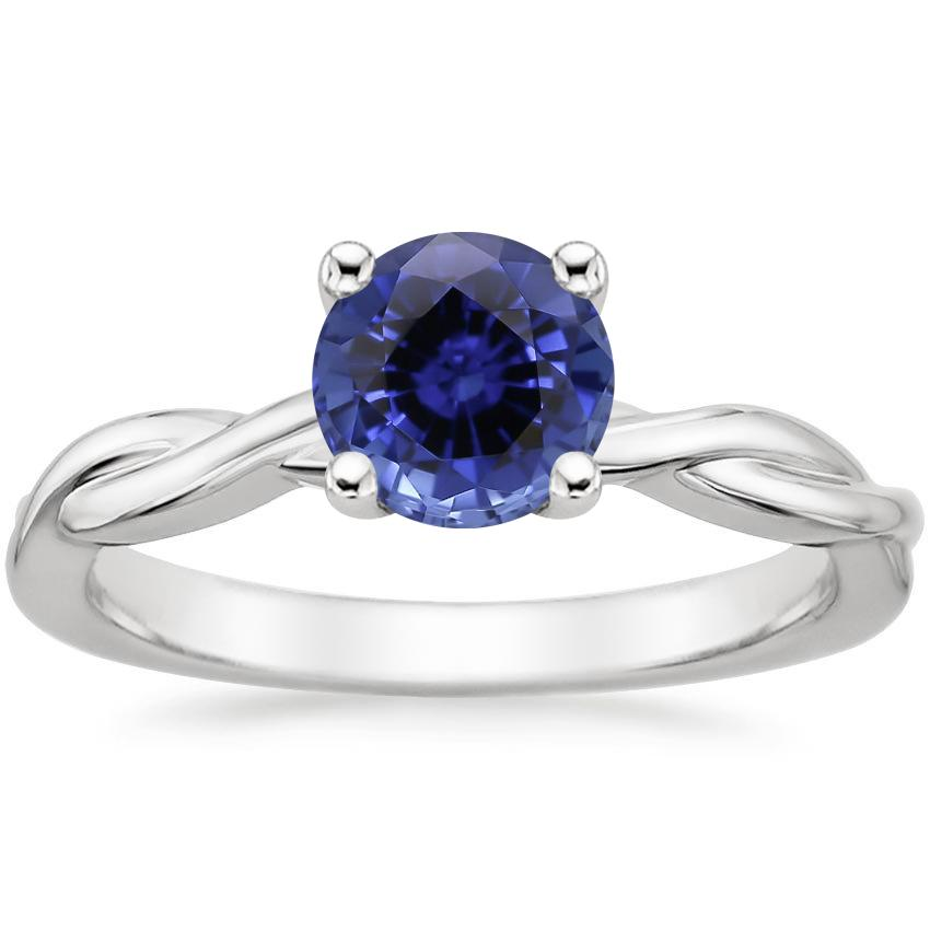 Sapphire Twisted Vine Ring in 18K White Gold